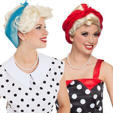 Rockabilly Perücke mit Tuch Blonde Kurzhaarperücke 50er Rockabella Frauenperücke