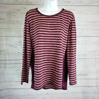 LOGO by Lori Goldstein Womens Knit Top Sz Small Burgundy Striped Long Sleeve