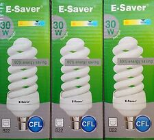 3x E-Saver, Energy Saving CFL Light Bulbs, Spiral, 30w, Daylight, B22 Bayonet