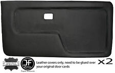 BLACK STITCH 2X FRONT DOOR CARD LTHR COVERS FITS BMW 3 SERIES E30 COUPE STYLE 2
