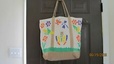 Women's Floral Painted Multi-Colored Tote Bag Zipper Closure