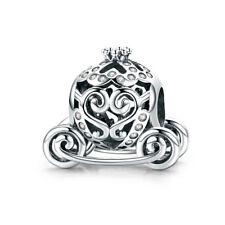925 Silver Cinderella Disney Princess Cart Pumpkin Carriage Charm Bead Fit Chain