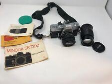 Minolta Srt-202 35mm Film Camera w/Rokkor-X Lenses Caps + accessories Ships Free
