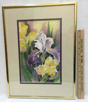 Watercolor Iris Flower Purple Signed Nelson Painting Picture Framed Art Signed