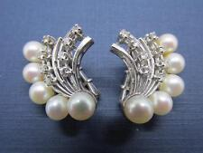 Vintage 16 Diamond 10 Pearl Cluster 14k Solid White Gold Earrings