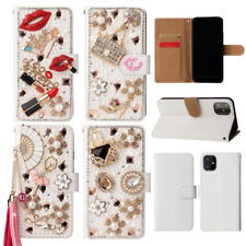 Bling Diamond White Leather Wallet Phone Case For Nokia 6.2 7.2 Moto E6 G8 Plus