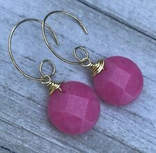 Min Favorit Faceted Candy Pink Jade & Gold Pl Looped Artisan Drop Earrings