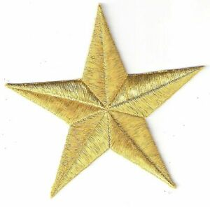 """4 3/4"""" Metallic Gold 5 pointed Star Embroidery Patch"""