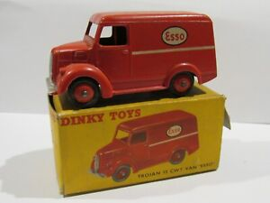 1954 DINKY TOYS TROJAN ESSO VAN #450-G RED WITH ORIGINAL BOX