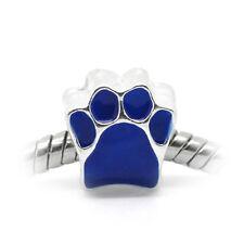 Dog Paw Print Blue Enamel Bear Footprint Spacer Charm for European Bead Bracelet