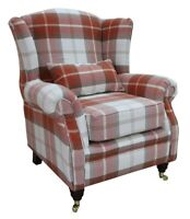 Ashley Wing Chair Fireside High Back Armchair Balmoral Burnt Orange Check PS