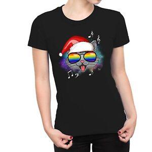 1Tee Womens Happy Santa Cat Music T-Shirt