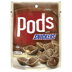 Mars Crispy Baked Wafer Shaped Shell Snickers Pods Chocolate Bag Medium 160g
