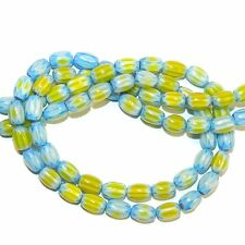 G4255 Blue & Yellow Chevron Star 8mm Tapered Oval Millefiori Glass Beads 15""