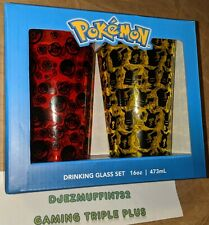 POKEMON SET OF 2 PINT GLASSES (PIKACHU) JUST FUNKY (16 0Z)