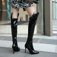 Women Patent Leather Over The Knee Boots Pointed Toe High Slim Heels Shoe US4-12