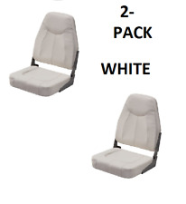 2-Pack WHITE Folding High-Back Boat Seats Boating Fishing Pontoon Set