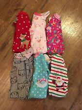 Girls size 18 Months Fall / Winter Pajamas~Lot of 6~Carter's,Little Me,Gerber~EC