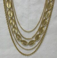 Vintage Five Strand Textured and Polished Gold Tone Chain & Link Necklace