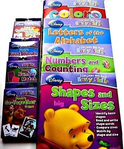 DISNEY, WORKBOOKS & FLASHCARDS, SET-8,  Boys & Girls English NEW!