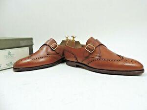Crockett & Jones Mens Shoes Brogue Buckle Tan UK 8 E US 9 EU 42 E Reg Minor Use