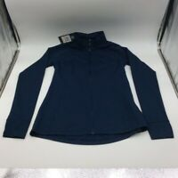 Under Armour Womens Track Jacket Blue Smocked Zip Mock Neck Long Sleeve S New