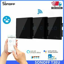 SONOFF T3EU TX 433 RF Remote Control Smart Wifi Wall Touch 3 Gang Switch Black