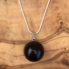 "Black Obsidian Ball Sphere Pendant 20mm 20"" Silver Necklace Grounding Protection"