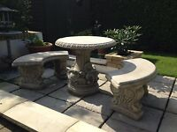 (NEW)Garden Table and Benches, Concrete Stone Garden table Chairs,Curved Design
