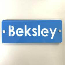 Rectangular House Name Sign - Bright Blue & White Gloss Finish