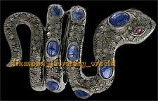 Estate Victorian 3.86cts Rose Cut Diamond Ruby Sapphire Silver Pretty Snake Ring