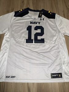 New 3XLarge UA Under Armour Navy Midshipmen #12 Mens White NCAA Football Jersey