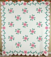 Unusual Vintage 30s Fuchsia Applique Antique Quilt ~Nice Quilting & Vine Border!