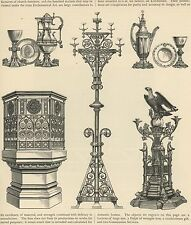 ANTIQUE ECCLESIASTICAL LECTERN PULPIT CANDELABRUM COMMUNION SERVICES OLD PRINT