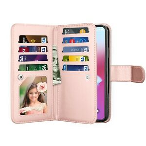 For iPhone 11/12 Mini/13 Pro Max/SE 2020 Wallet Phone Case Card Flip Stand Cover
