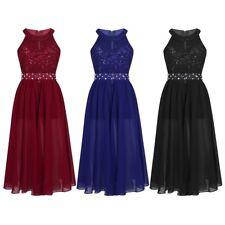 New Maxi Wedding Gown Flower Girl Dress Rhinestones Chiffon Party Kids Clothes