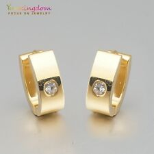 Small Clear Round Cubic Zircon Gold Plated Lady Girl Ear Jewelry Hoop Earrings