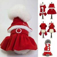 Pet Dog Christmas Santa Cape Dress Puppy Winter Warm Hoodie Jumpsuit Apparel New