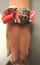 Marc Jacobs Pink Acrylic Link Candy Turnlock Bracelet Gold Exploded Statement