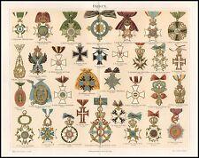 Farb Lithografie Orden Preussen Österreich Spanien Rußland Sachsen 1890 Original