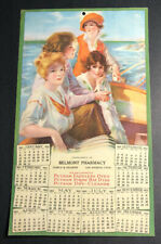 1922 Advertising Calendar Flapper Girls Pin Up Boat Pharmacy Los Angeles Califor