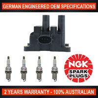 4x Genuine NGK Platinum Spark Plugs & 1x Ignition Coil for Ford Fiesta WP