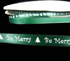 "10 Yds Christmas Be Merry Green Satin Ribbon 3/8""W"