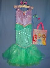 DISNEY ARIEL COSTUME DRESS-7-8-MERMAID HAIRBAND/-BOW-RING-TRICK OR TREAT BAG LOT