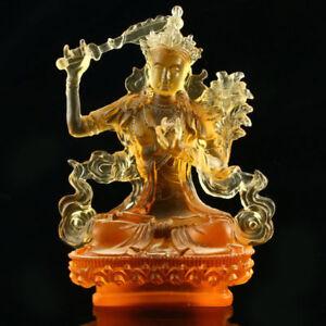 chinese Collectible coloured glaze Carved Manjusri Bodhisattva statue Buddha