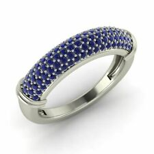Wedding Anniversary Ring 14k White Gold Certified 0.74 Ctw Natural Blue Sapphire