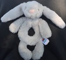 Jellycat Bunny Rattle Gray Baby Ring Grabber Lovey Soft Plush Toy Infant
