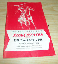 Winchester Retail Price List Rifles and Shotguns Olin M January 2, 1954