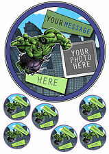 "HULK PERSONALISED CAKE TOPPER ADD PHOTO 7.5""ROUND& 6 CUPCAKE TOPPERS ICING SHEET"