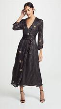 MISA NEW Madalin Lurex Black Gold Silver Braided Sequin Star Wrap Maxi Dress XS